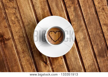Detail Of Great Italian Espresso Coffee In A White Cup, Top Of View With Foam Heart Shape