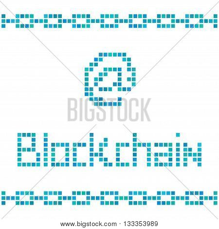 Blockchain concept by colorful squares. Vector illustration for block chain technology bitcoin cryptocurrency digital safety protocol peer to peer transaction