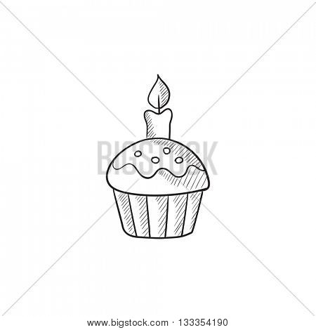 Easter cupcake with candle vector sketch icon isolated on background. Hand drawn Easter cupcake with candle icon. Easter cupcake with candle sketch icon for infographic, website or app.