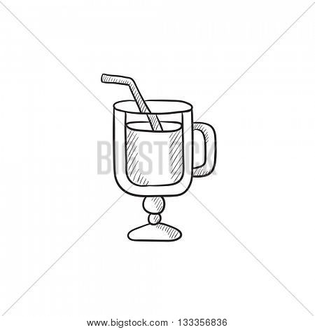 Glass with drinking straw vector sketch icon isolated on background. Hand drawn Glass with drinking straw icon. Glass with drinking straw sketch icon for infographic, website or app.