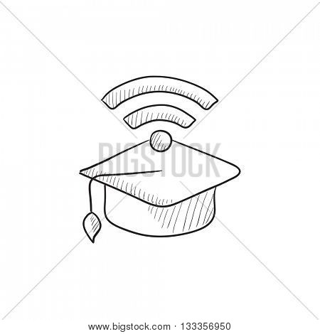 Graduation cap with wi-fi sign vector sketch icon isolated on background. Hand drawn Graduation cap with wi-fi sign icon. Graduation cap with wi-fi sign sketch icon for infographic, website or app.