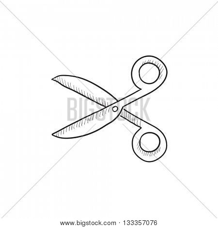Scissors vector sketch icon isolated on background. Hand drawn Scissors icon. Scissors sketch icon for infographic, website or app.