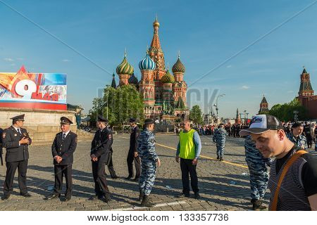 Moscow, Russia - May 9: Security officers at Immortal Regiment. Moscow celebrates 71-th Victory Day anniversary on May 9, 2016 in Moscow.