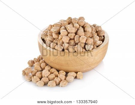 garbanzo beans in wooden bowl on white background