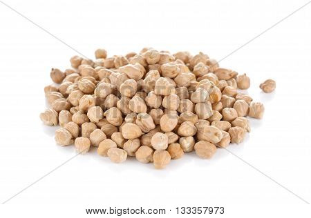 pile of garbanzo beans on white background