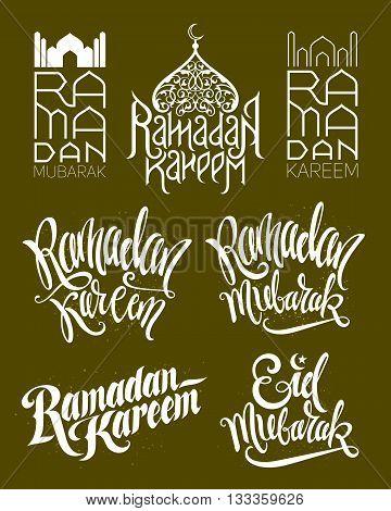 Ramadan Kareem and Eid Mubarak. Set of Ramadan logos with lettering design. Vector illustration.