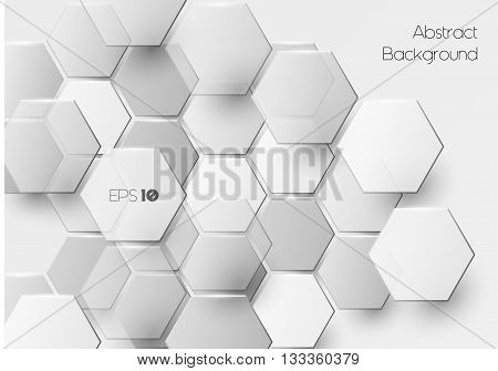 Vector modern hexagonal background in white, geometric background with overlapping polygons