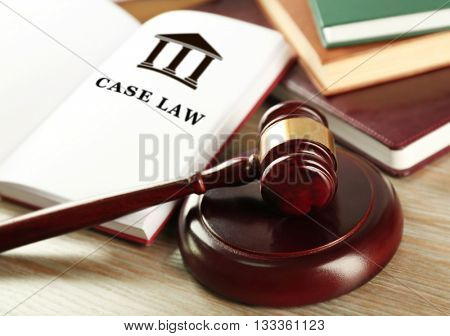 Open book with words case law