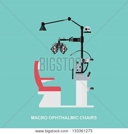 Marco Ophthalmic Chairs Optometrists eye examination equipment Eye Exam Chair isolated on white background vector illustration.