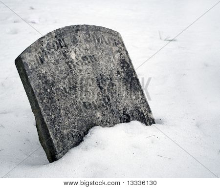 Snowy Grave During Winter