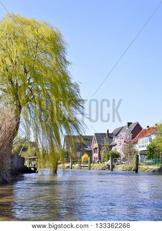 Houses at a course of a river. Willow and traditional houses with blue sky. Riverside in North Germany.
