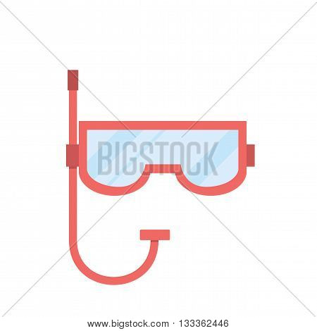 Individual protection. Mask for diving. Red mask for swimming. Mask with a tube for breathing under water. Vector illustration.