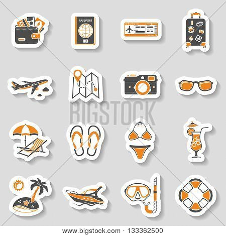 Vacation and Tourism Icons Sticker Set for Mobile Applications, Web Site, Advertising like Boat, Cocktail, Island, Aircraft and Suitcase.