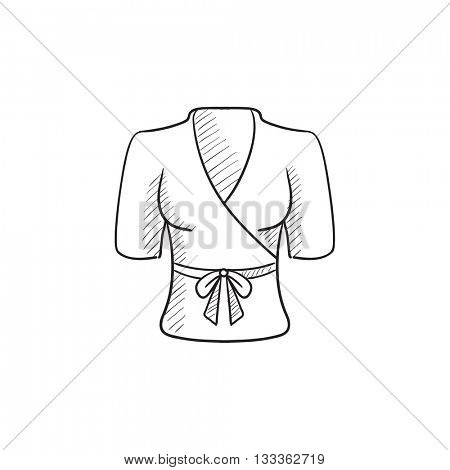 Short female bathrobe vector sketch icon isolated on background. Hand drawn Short female bathrobe icon. Short female bathrobe sketch icon for infographic, website or app. poster