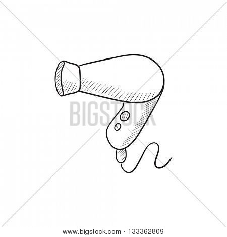 Hair dryer vector sketch icon isolated on background. Hand drawn Hair dryer icon. Hair dryer sketch icon for infographic, website or app.