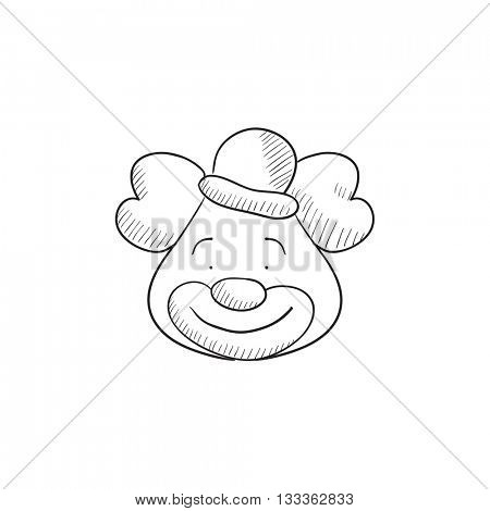 Clown vector sketch icon isolated on background. Hand drawn Clown icon. Clown sketch icon for infographic, website or app.
