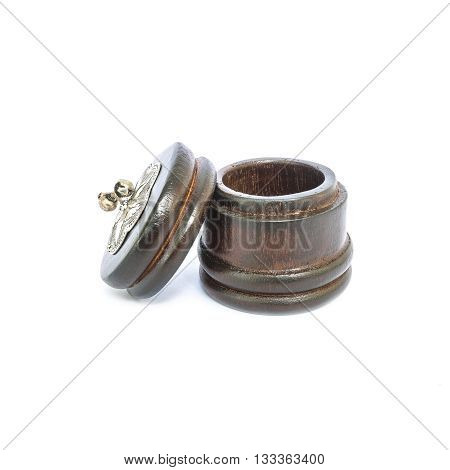 Closeup wooden thai traditional casket isolated on white background