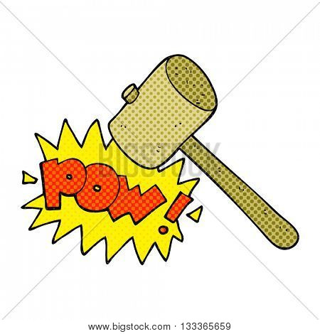 freehand drawn comic book style cartoon wooden mallet