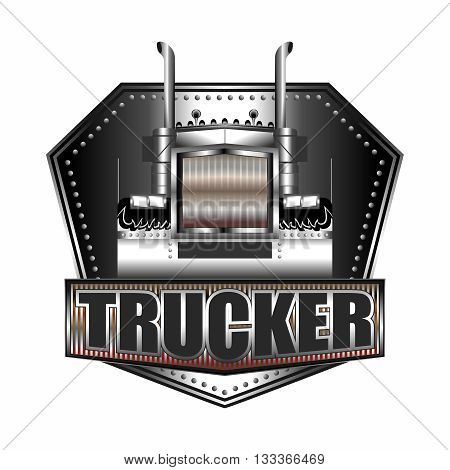 Vector Big Truck Metallic Badge Logo Illustration