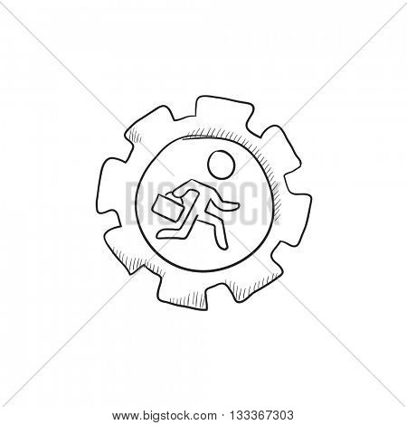 Man running inside the gear  vector sketch icon isolated on background. Hand drawn Man running inside the gear  icon. Man running inside the gear  sketch icon for infographic, website or app.