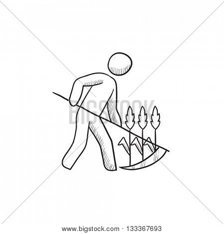 Man mowing grass with scythe vector sketch icon isolated on background. Hand drawn Man mowing grass with scythe icon. Man mowing grass with scythe sketch icon for infographic, website or app.