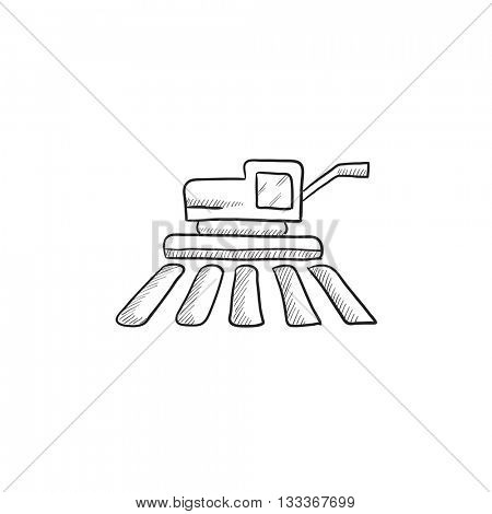Combine harvester vector sketch icon isolated on background. Hand drawn Combine harvester icon. Combine harvester sketch icon for infographic, website or app.
