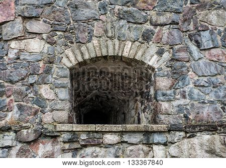 Stone Wall Texture With Loophole Background