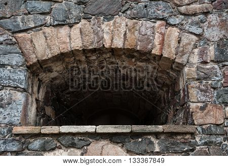 Stone Wall Medieval Texture With Loophole Background