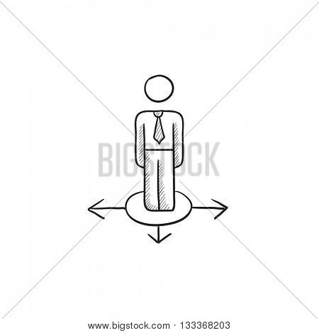 Businessman in three ways vector sketch icon isolated on background. Hand drawn Businessman in three ways icon. Businessman in three ways sketch icon for infographic, website or app.