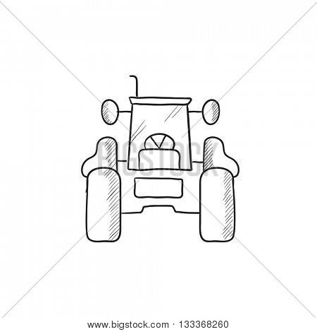 Tractor sketch icon for web, mobile and infographics. Hand drawn tractor icon. Tractor vector icon. Tractor icon isolated on white background.