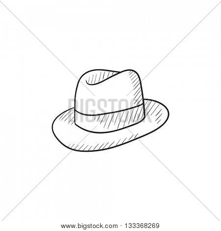 Fedora hat sketch icon for web, mobile and infographics. Hand drawn fedora hat icon. Fedora hat vector icon. Fedora hat icon isolated on white background.