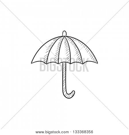 Umbrella sketch icon for web, mobile and infographics. Hand drawn umbrella icon. Umbrella vector icon. Umbrella icon isolated on white background.
