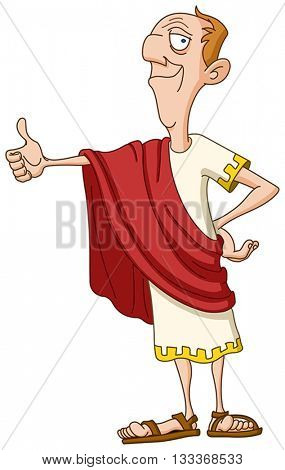 Roman emperor showing thumb up