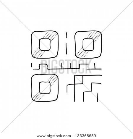 QR code vector sketch icon isolated on background. Hand drawn QR code icon. QR code sketch icon for infographic, website or app.
