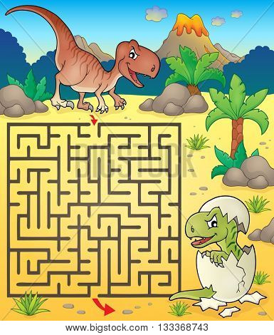 Maze 3 with dinosaur theme 2 - eps10 vector illustration.