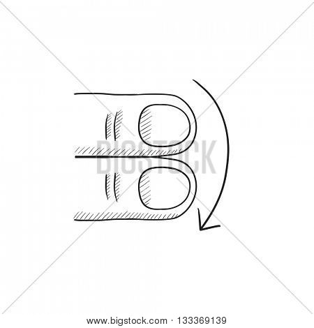 Swipe down with two fingers vector sketch icon isolated on background. Hand drawn touch screen gesture down icon. Touch screen gesture down sketch icon for infographic, website or app.
