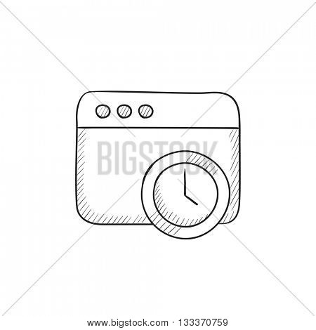 Browser window with clock sign vector sketch icon isolated on background. Hand drawn Browser window with clock sign icon. Browser window with clock sign sketch icon for infographic, website or app.