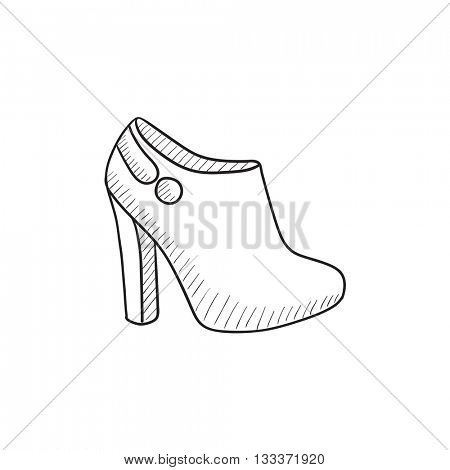 High-heeled ankle boot vector sketch icon isolated on background. Hand drawn High-heeled ankle boot icon. High-heeled ankle boot sketch icon for infographic, website or app.