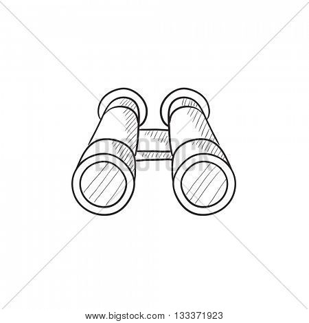 Binocular vector sketch icon isolated on background. Hand drawn Binocular icon. Binocular sketch icon for infographic, website or app.