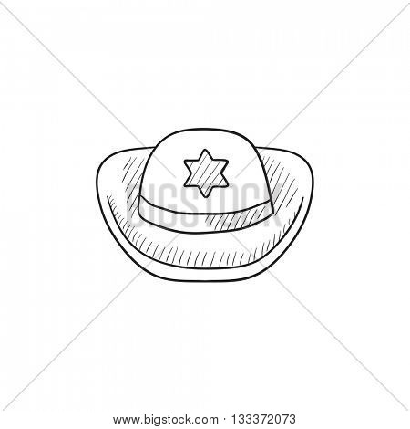 Sheriff hat vector sketch icon isolated on background. Hand drawn Sheriff hat icon. Sheriff hat sketch icon for infographic, website or app.