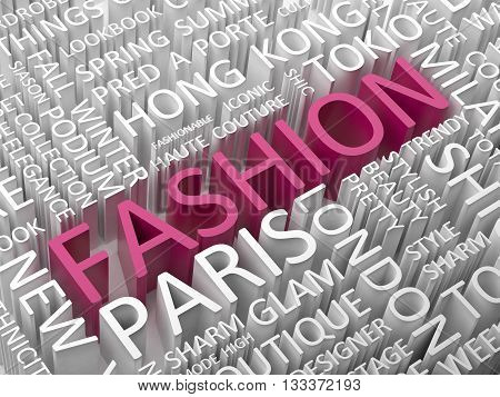 Fashion word cloud with  associated words 3d illustration.