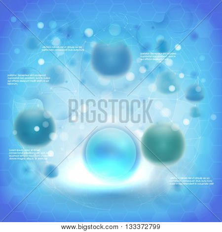 Science background with cells HUD. Blue cell background. Life and biology, medicine scientific, bacteria, molecular research DNA. Vector illustration 10eps.