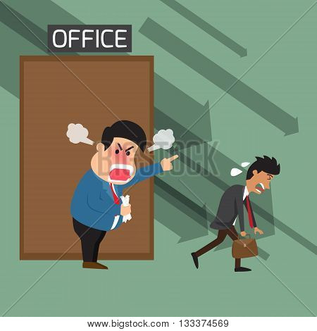 Angry boss shouting to employee at office and dismissed from office bad boss bad employee lazy employee angry boss vector illustration.