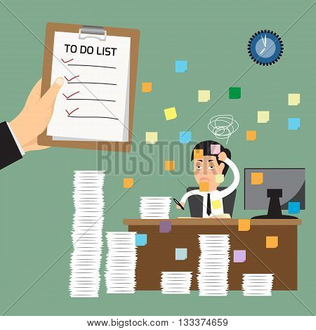 hand business man holding clipboard presenting to do list with business man hard work and no list of work. vector illustration.