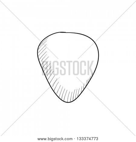 Guitar pick vector sketch icon isolated on background. Hand drawn Guitar pick icon. Guitar pick sketch icon for infographic, website or app.