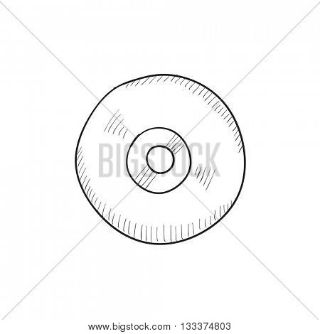 Reel tape deck player recorder vector sketch icon isolated on background. Hand drawn Reel tape deck player recorder icon. Reel tape deck player recorder sketch icon for infographic, website or app.