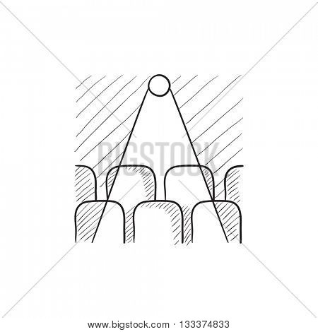 Movie theater with empty seats and projector vector sketch icon isolated on background. Hand drawn Movie theater with empty seats icon. Movie theater sketch icon for infographic, website or app.