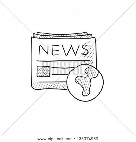 International newspaper vector sketch icon isolated on background. Hand drawn International newspaper icon. International newspaper sketch icon for infographic, website or app.