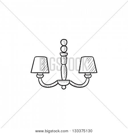 Chandelier vector sketch icon isolated on background. Hand drawn Chandelier icon. Chandelier sketch icon for infographic, website or app.