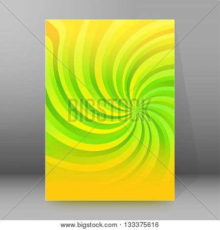 Abstract spiral background of bright glow perspective with lighting yellow green twist lines. Can be used for business brochure flyer party design banners cover book label